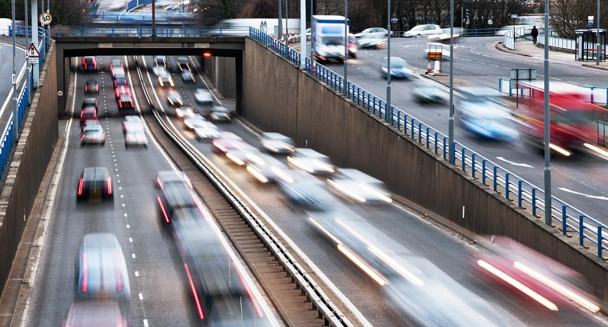 Urban motorway rush hour traffic in birmingham