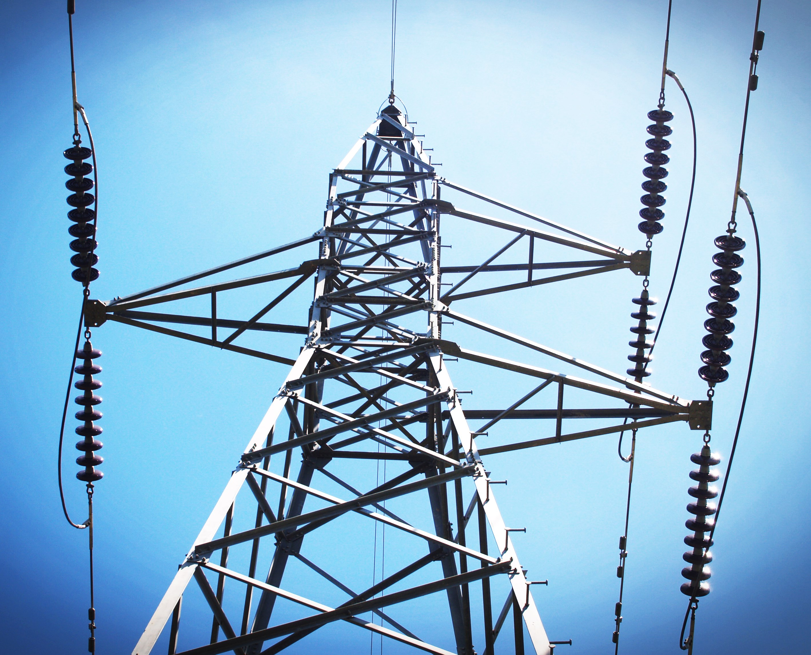 High-voltage power transmission towers , Power Lines Stock Photo ...